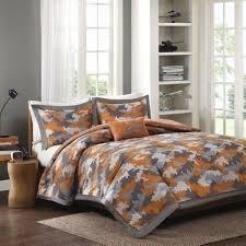 boys twin xl full queen bed gray grey orange camo camouflage 4 pc comforter set