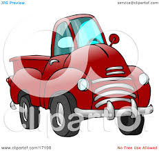 Big Red Pickup Truck Clipart Illustration by djart #17198