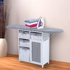 ironing board furniture. HOMCOM Foldable Ironing Board W/ Storage And Basket-White/Black Furniture N