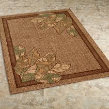 urban leaves rectangle rug brown touch to zoom