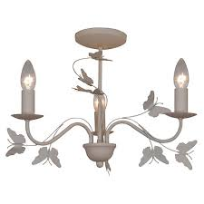 shabby chic cream 3 arm erfly detail ceiling light fitting chandelier