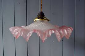 vintage french rose pink faded ombre glass opaque frill pendant light shade photo 1