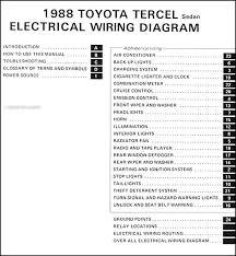 1988 toyota tercel sedan wiring diagram manual original 1997 Toyota Tercel Motor 1988 toyota tercel sedan wiring diagram manual original � table of contents