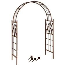 wide garden arch with dragonfly motif complete with reeds and cattails