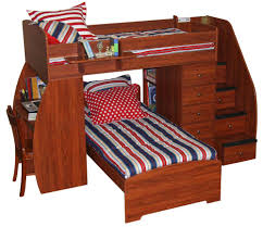 wooden bunk beds with stairs plus drawers and computer desk for kids furniture ideas