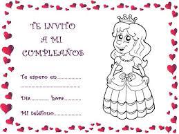tarjetas de cumplea os para ni as de invitación de cumpleaños infantiles caseras con princesas