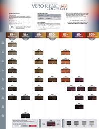Joico Vero K Pak Hair Color Chart Joico Vero K Pak Color Age Defy Swatch Chart