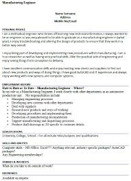 Manufacturing Engineer CV Example Icoverorguk Interesting Manufacturing Engineer Resume