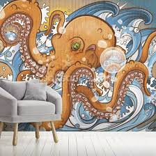 surfing the 8 legged waves wall mural