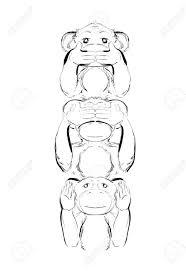 おかしい猿のスケッチクリップアートイラスト