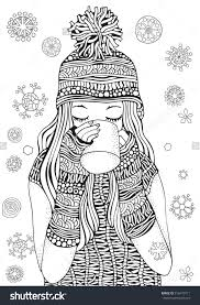 Small Picture Winter Girl And Gifts Winter Snowflakes Adult Coloring Book Page