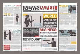 Newspaper Template Design With Financial Articles News And Advertising Information Flat Vector Illustration