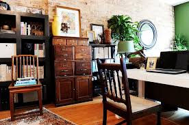 Eclectic home office Whimsical Vintage File Cabinet Is The Showstopper In This Eclectic Home Office design Suzann Kletzien Decoist Trendy Textural Beauty 25 Home Offices With Brick Walls