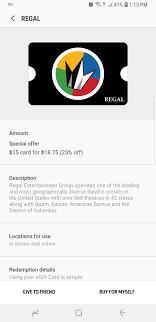 Regal Gift Card Samsung Pay 25 Off Slickdeals Net