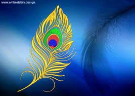 Embroidery Feather Designs Golden Peacock Feather