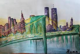 brooklyn bridge manhattan second attempt in watercolor art