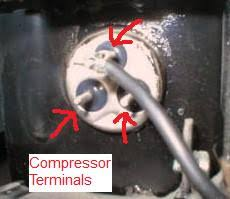 refrigerator parts compressor systemtesting ref compressor terminals arrow