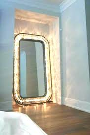 full length wall mirror with lights decorative mirrors wood framed oak ligh