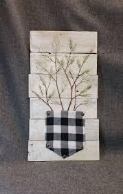pallet wall art evergreen black and white plaid farmhouse decor