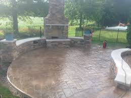stamped concrete patio with fireplace. Decorative Stamped Concrete Patio, Sitting Walls And Outdoor Fireplace By Fordson - Cleveland, Patio With D