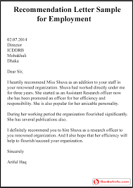 Letter Or Recommendation Format Sample Employee Letter Of Recommendation Kubreeuforicco