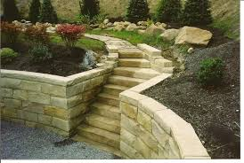 triangular wall stone with return stairtreads cap and irregular patio stone
