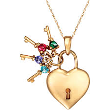 keepsake personalized family jewelry birthstone keys to her heart pendant available in sterling silver gold and white gold com