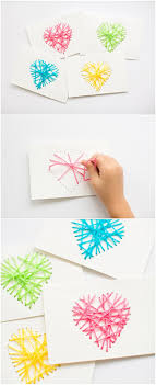 Make String Heart Yarn Cards. These make pretty handmade Valentine cards  and are a great