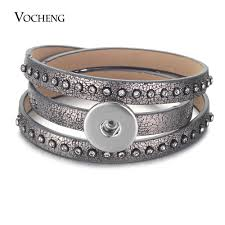 whole ginger snap jewelry pu leather bangle with 18mm snap on charms vocheng gingersnaps jewelry nn 688 10 silver friendship bracelets silver bangle