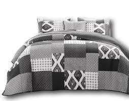 Facebook & Quilt - DaDa Bedding Classical Geometric Shades Of Grey Reversible Real  Patchwork Quilted Coverlet Bedspread Set Adamdwight.com