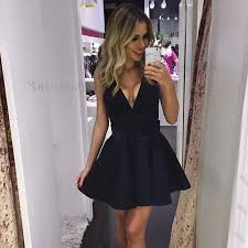Deep v neck dress short