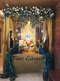 peacock theme ganpati decoration contact 919967144050 decorideas