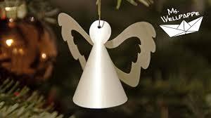 Kleine Engel Basteln Mit Papier Als Christbaumschmuck Zu Weihnachten Weihnachtsdeko Selber Basteln