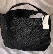 etienne aigner irena hobo black woven leather tote bag handbag per nwt 398