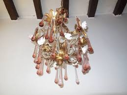 french murano pink drops beaded porcelain roses helix tole chandelier in excellent condition for in