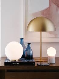 Mondo Large Round Table Lamp In Whitebrass Lighting Brass Lamp