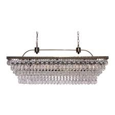 the weston 40 inch rectangular glass drop chandelier antique brass