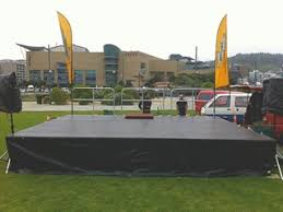 sound system cost. stage set up at waitangi park. sound system cost