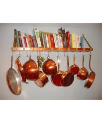 wall mounted copper brass pot rack