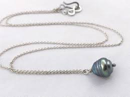 Tahitian Pearl Pendant Necklace Solid Sterling Silver Single Genuine Baroque Tahitian Pearl Grey Blue Bronze Saltwater Pearl