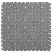 perfection floor tile 8 piece 20 5 in x 20 5 in light gray raised coin garage floor tile
