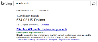 1 dollar to bitcoin as per the unfamiliar conversion scale for now. Bing Launches Bitcoin Conversion Tool