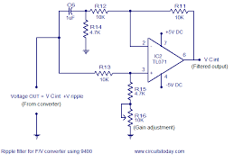 frequency to voltage converter circuit based on the tc ic ripple eliminator