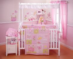 image of pink castle princess crib bedding