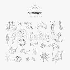 夏の海 鉛筆画 セットイラスト No 1160595無料イラストなら