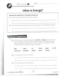 Energy Transformation Examples For Middle School Thermal Worksheets