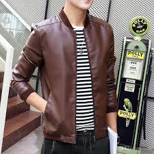 men black leather er classic jacket for juniors flight zip up outwear brown track tops coats plus size 3xl 2018 spring whole brown leather jacket