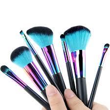 7pcs devil green nylon soft hair blending makeup brushes colourful copper beauty face makeup brush set contour powder brush in makeup scissors from
