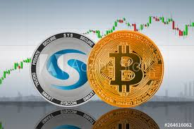 Bitcoin Btc And Syscoin Sys Coins On The Background Of