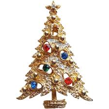 Christmas Brooches With Lights Mod Christmas Tree Rhinestone Vintage Brooch Signed Art